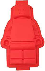 Cherion 1 Large Figure Robot Silicone Cake Mold Red Color, Cute Silicone Cake Pan for Kids and Adults, as gift