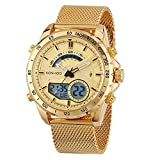 Men's Analog Digital Watch with Gold Stainless Steel Band Big Face Electronic Multi-Function Wrist Watches Military Waterproof Wristwatch with LED Alarm Stopwatch Fit Watch for Outdoor Sport Men