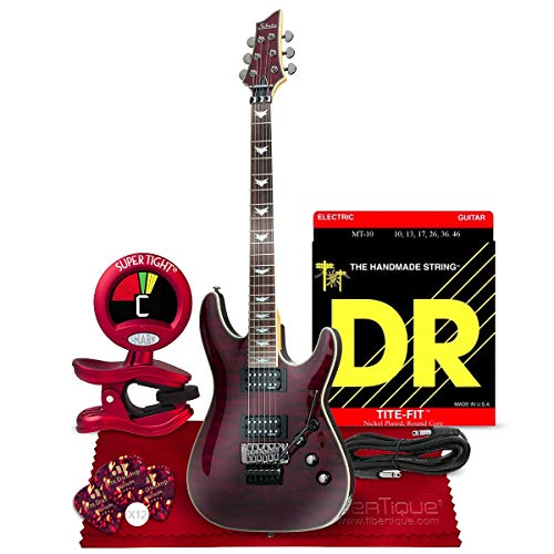 Schecter Omen Extreme-6 Electric Guitar, Black Cherry Bundle with Guitar Tuner, Strings, Picks, Cable, and - Guitar Hellraiser Pro