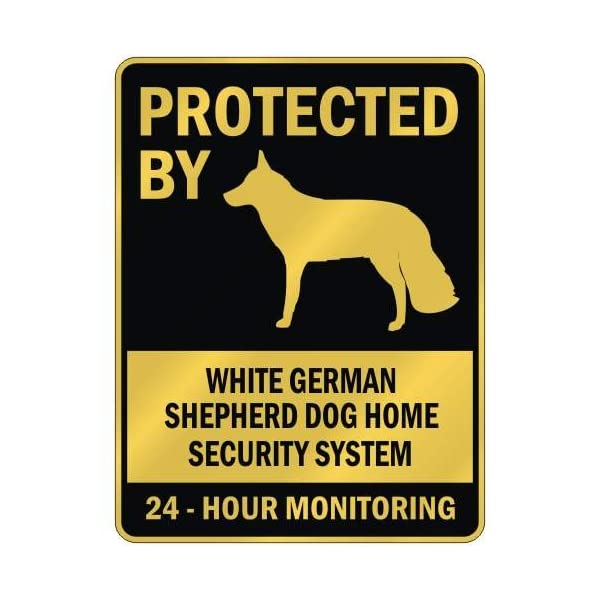 "PROTECTED BY "" WHITE GERMAN SHEPHERD DOG HOME SECURITY SYSTEM "" PARKING SIGN DOG 1"
