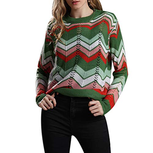 Belgius Women's Knitted Casual Pullovers Sweater Rainbow Color Striped Jumper Tops ()