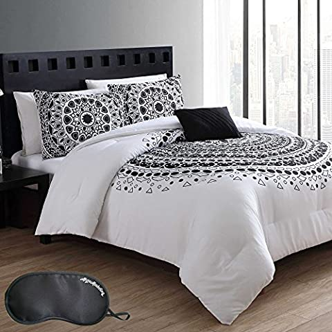 Modern Circle Patterned Medallion Bedding Black Geometric Reversible Solid White 8 Piece Bed in a Bag KING Size Comforter Set with Sleep - Black Lacquer Full Futon Frame