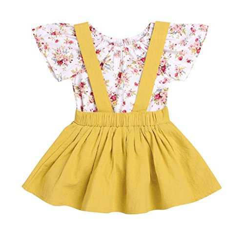 (FEITONG 2Pcs Infant Baby Girls Floral Print Rompers Jumpsuit + Strap Skirt Outfits Set )