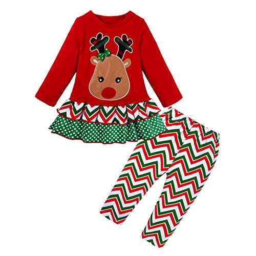 Toddler Kids Girls Christmas Clothes Set Casual Ruffle Elk Printed Long Sleeve Dress Top Pants 2pcs Outfits (Age:9-12 Months, Red)