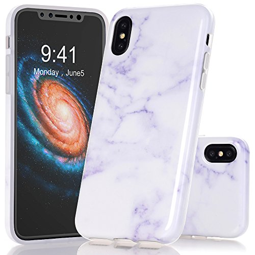 BAISRKE iPhone X Case, White Marble Creative Design Case Slim Flexible Soft Silicone Bumper Shockproof TPU Rubber Glossy Skin Cover for iPhone X XS [5.8 inch]