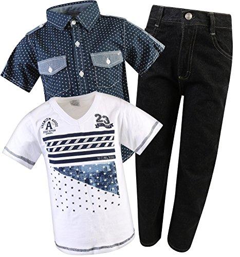 Denim Set White Blue Pant (Quad Seven Little Boy\\\\\\\'s 3-Piece Short Sleeve Woven Shirt, Tee, and Denim Pant Set, White/Blue, Size 2T\\\'\'')