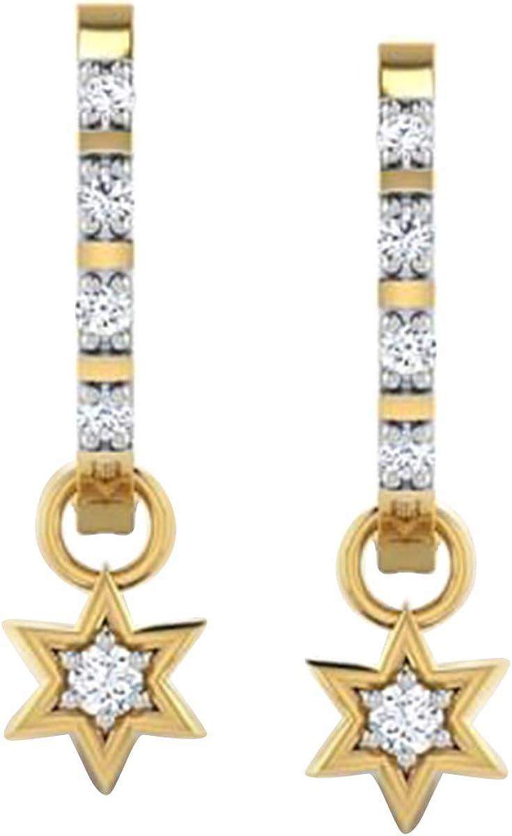 0.25 Carat Round Cut Diamond /& Pearl Women/'s Earring 14K Yellow Gold Over