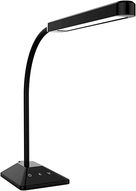 LED Desk Lamp Flexible Gooseneck Table Lamp with Touch Control 5 Brightness Levels Adjustable Night Light Eye Caring Dimmable Table Light(Black)