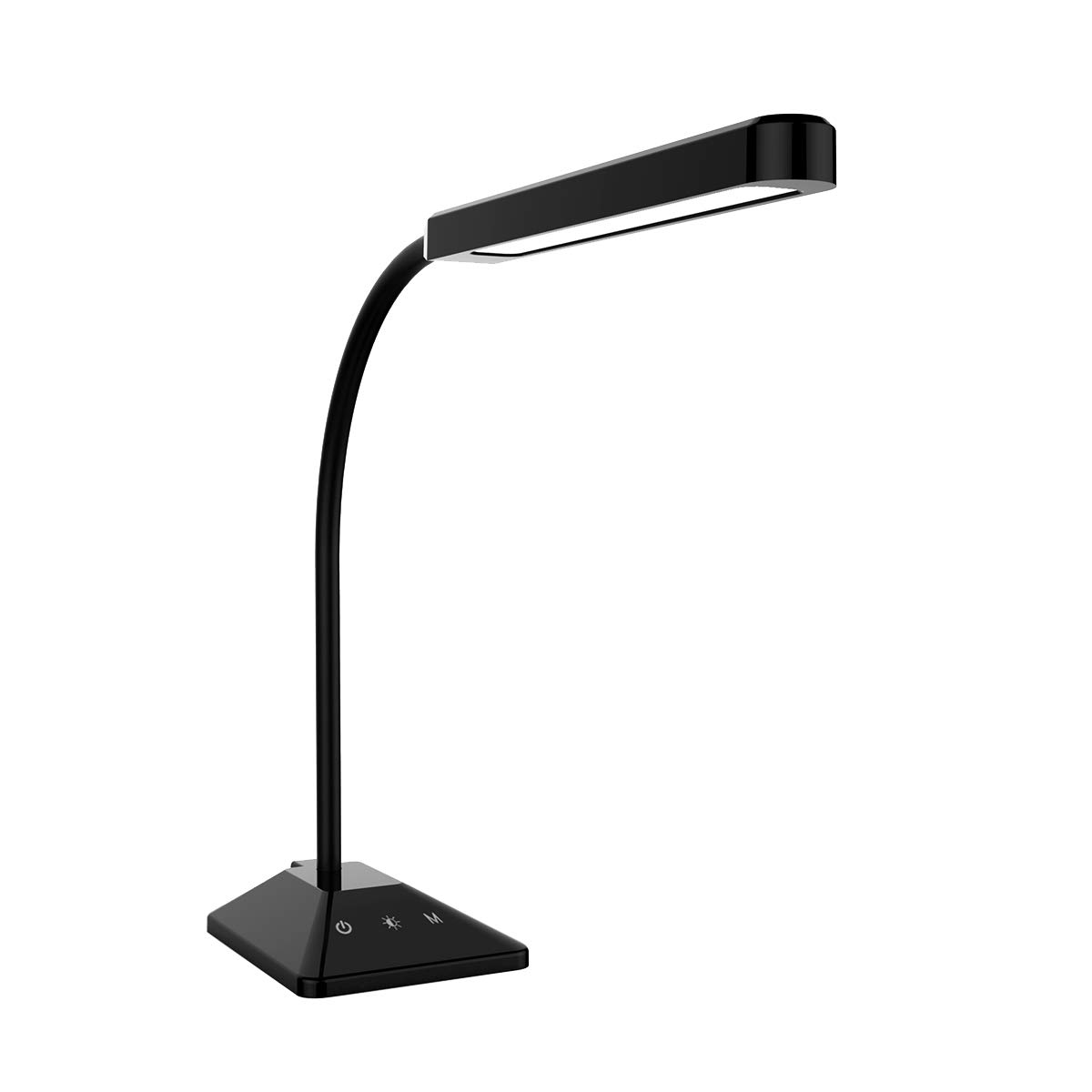LED Desk Lamp Flexible Gooseneck Table Lamp with Touch Control 5 Brightness Levels Adjustable Night Light Eye-Caring Dimmable Table Light Black