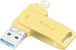 USB Flash Drive for iPhone Thumb Drive 128GB PhotoStick USB 3.0 for iPad Jump Drive 3in1 External USB Drive Richwell for Apple iPhone iPad iOS Mac Android and PC(Gold128GZKJ)