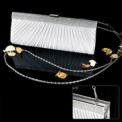 Dametasche Abendtasche Satin Cluth Bag für Braut mit Strasse Silber Farbe K5