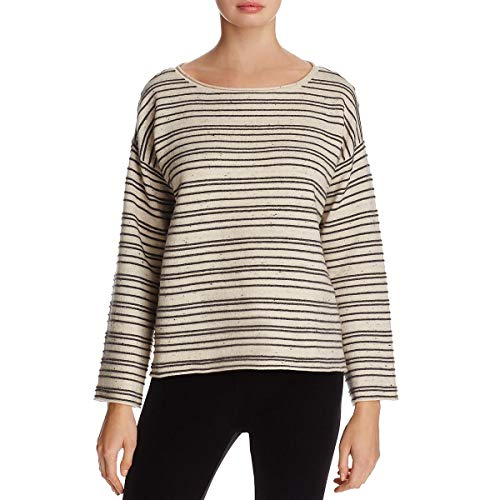 Eileen Fisher Womens Petites Wool Striped Pullover Sweater Beige PS