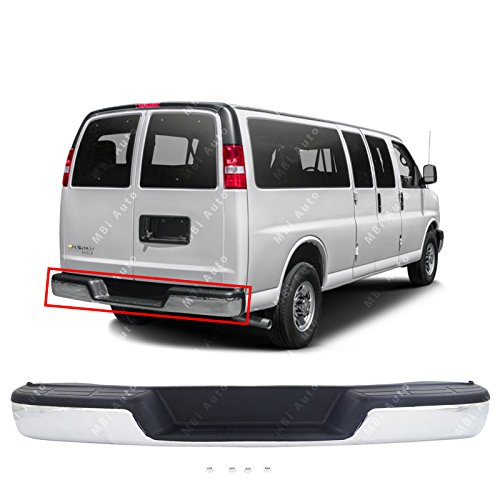 MBI AUTO - Chrome Steel, Complete Rear Bumper Assembly for 1996-2017 Chevy Express & GMC Savana Van 96-16, GM1103142