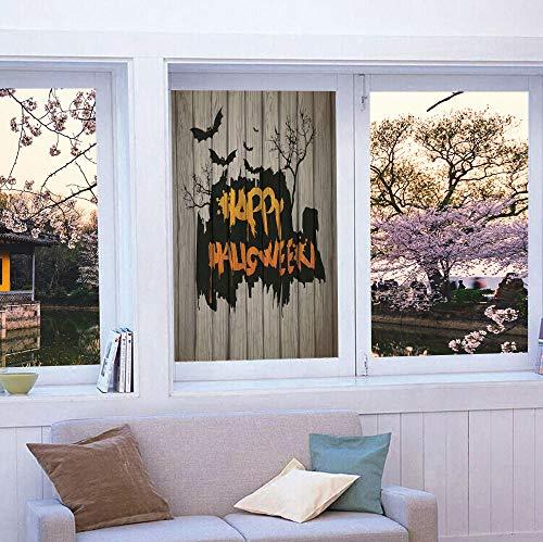 TecBillion Vinyl Window Film,Halloween Decorations,Work Well in The Bathroom,Happy Graffiti Style Lettering on Rustic Wooden Fence,24''x36'' ()