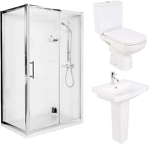 Funda 1200 mm puerta corredera de ducha baño + WC para inodoro + ...