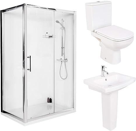 Funda 1200 mm puerta corredera de ducha baño + WC para inodoro + lavabo: Amazon.es: Hogar