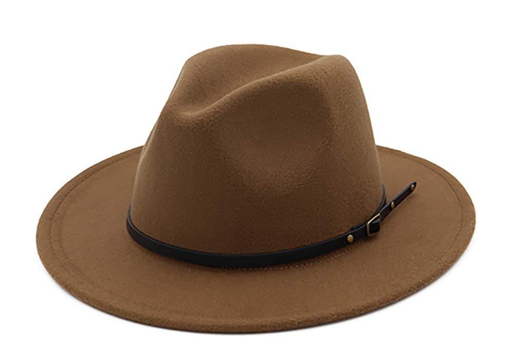 EachEver Women's Woolen Wide Brim Fedora Hat Classic Jazz Cap with Belt Buckle Khaki
