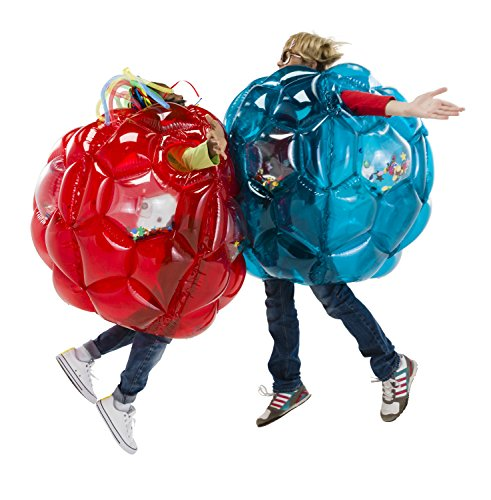 HearthSong Set of 2 Red and Blue Bright Lights BBOP Buddy Bumper Ball Colorful Confetti Filled Motion Activated LEDs Inflatable Blow Up Body Bubble Suit Heavy Duty PVC Vinyl 36 Inches Diameter