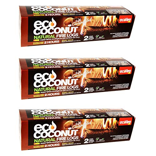 ECOFIRE ECO Coconut Natural Fire Log, 2 Hour Burn time, Extra Long Duration, Indoor or Outdoor