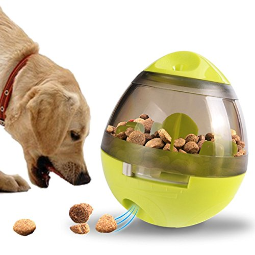 Pet Food Ball, FUN and INTERACTIVE Treat, Dispensing Ball for Dogs & Cats, Increases IQ and MENTAL Stimulation, Best Alternative to Bowl Feeding (Green)