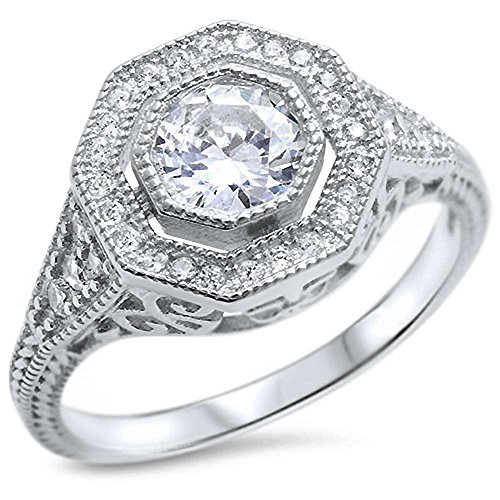 (Oxford Diamond Co Sterling Silver Antique Reproduction Round Solitaire Cubic Zirconia Engagement Ring Sizes)