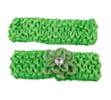 Glimmer Blossom Stretchy Headbands 2 Pack, Green
