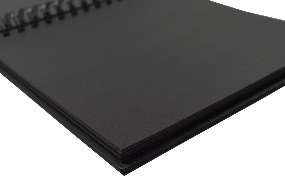 Scrapbook Black Guest Book Blank Square Spiral Bound Cardboard Hardcover 40 Sheets Photo Booth Album 12 Inches