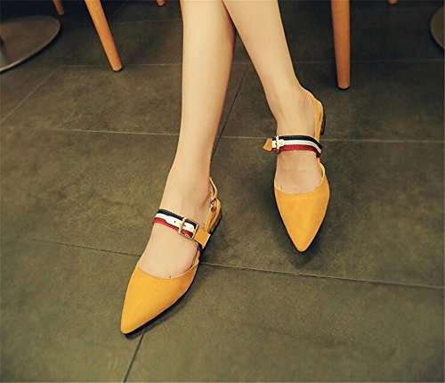 Womens Sandals Flat Sandals Slides Yellow Slippers Sandals PRETTYHOMEL Dress Pointed Mule Toe Women for wIA7Ax6fq