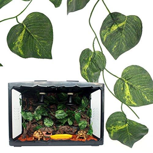 Onpiece Reptile Plants - Artificial Vine Green Leaves Terrarium Plants - 2.4m Fake Plants for Reptile and Amphibians ()