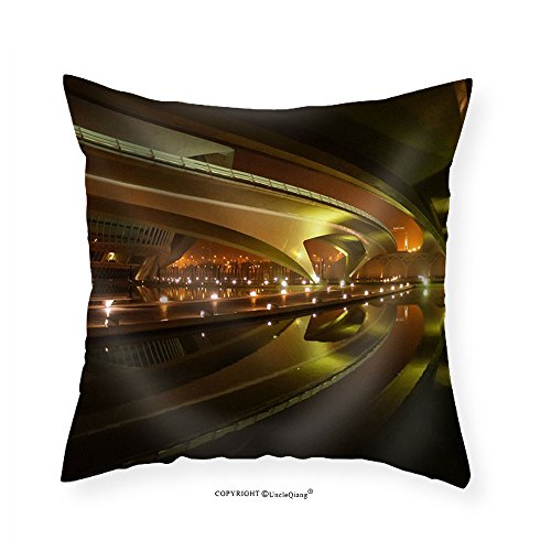 VROSELV Custom Cotton Linen Pillowcase Image of Beautifully Lit Bridges at Night Valencia Spain - Fabric Home Decor 24''x24'' by VROSELV