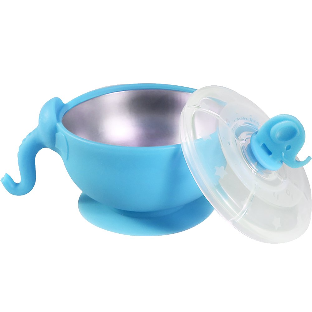 PickUrStyle Stainless Steel Silicone Bowl Elephant Bowl with Hidden Suction Cup for Babies and Toddlers (Blue)