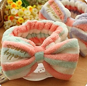 Domire Lovely Bowknot Soft Carol Fleece Bow Wash Cosmetic Headband/Hairlace,Pink by Domire