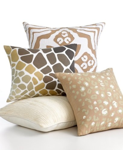 Martha Stewart Linen Blend Leopard Print Decorative Pillow Beige (Print Decorative Leopard Pillows)