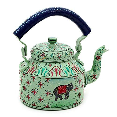 Handpainted Tea Kettle Steel : Elephant