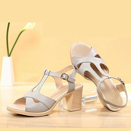 L@YC Girls Women'S Sandals Summer Leather High Heeled Women'S Shoes Fish Bottom Silky Skid Comfortable Sandals, white, 39