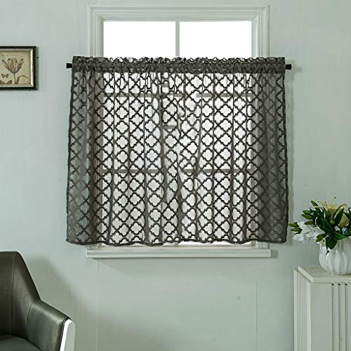 Piece Sheer Voile Window Curtain Panels for Bedroom & Living Room 137x61CM