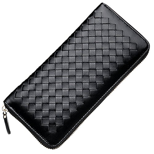 Qidell Ms.long Zip Braided Sheep-skin Clutch Wallet (Black) ()