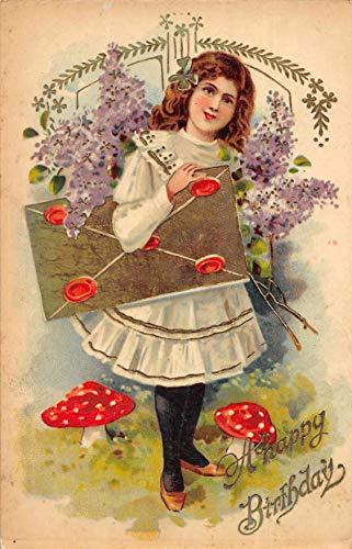 Birthday Greetings Girl with Big Envelope Flowers Mushrooms Postcard JH230718