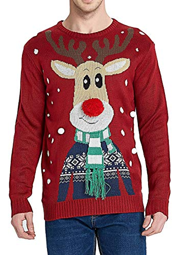 Daisyboutique Men's Christmas Rudolph Reindeer Holiday Sweater Cardigan Cute Ugly Pullover (X Large, Rudolph-with-Scarf) (Christmas Rudolph Sweater)