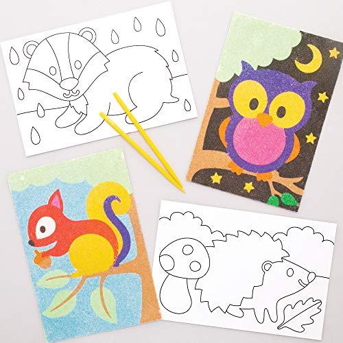 베이커스 AW883 우드랜드 동물을 모래 예술 사진을 선택하십시오.8 어린이를위한 장식하고 표시 이상적인 어린이 예술 및 공예 프로젝트 모듬