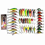 Isafish Minnow Lure Crankbait Tackle Pack of 43pcs Assorted Bass Fishing Lures Kit