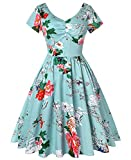 ROOSEY Womens Vintage 1950s Style Floral Short Sleeve Retro Swing Pockets Dress