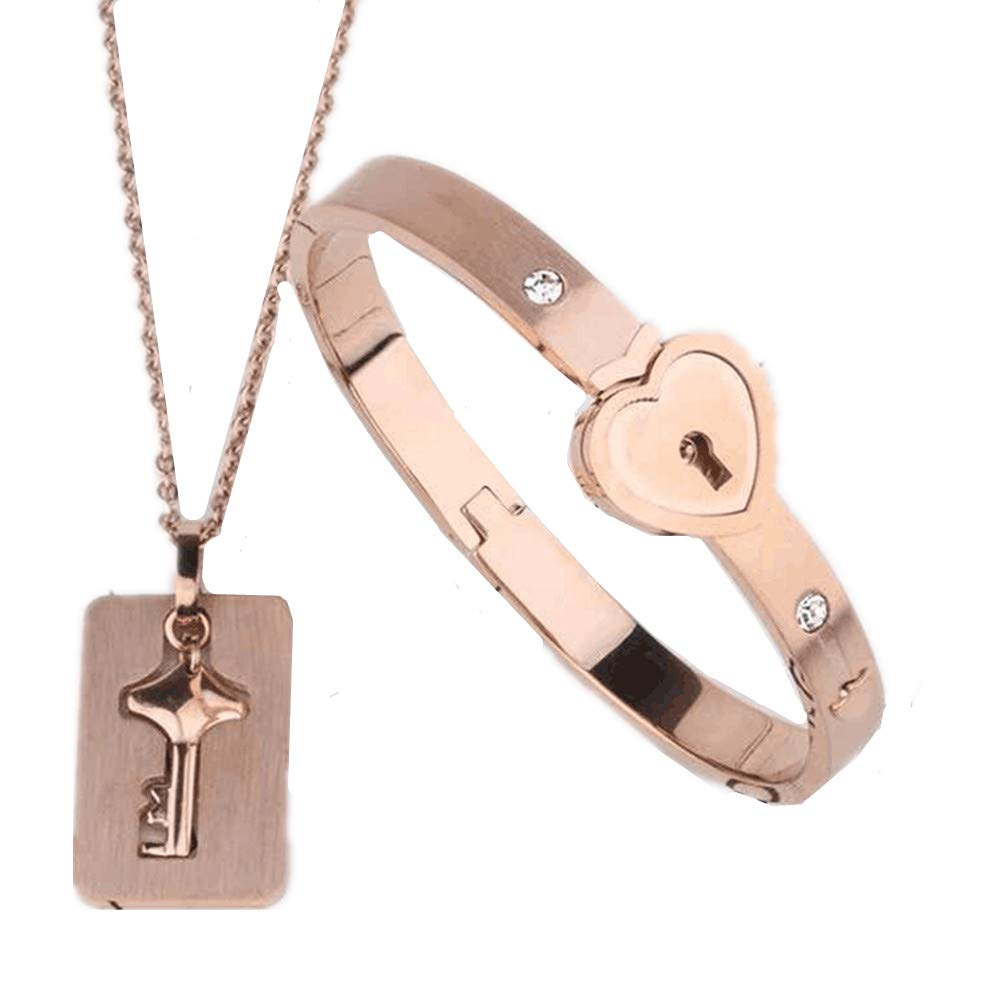 FACOCO Engraving-His Hers Love Heart Key Lock Macthing Bangle Bracelet Tag Necklace