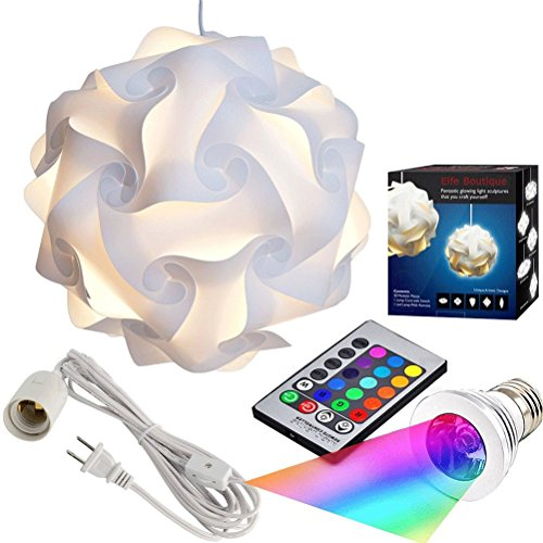 Puzzle Lights with Lamp Cord Kits , Self DIY Assembled Puzzle Lights Mordem Lampshade Iq Lamp Shades M Size (Home Decor Light) (White Lampshade +Remote Control Bulb+Cord)