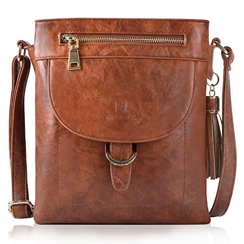 Leather Crossbody Bags for Women, Fanspack Ladies Crossbody Purse Over the Shoulder Purse Crossbody Purse Small Messenger Bag, Brown
