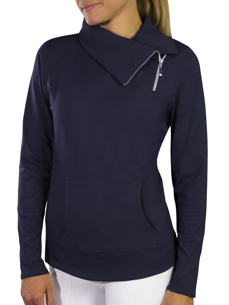 JumperThe Jofit White Jumper Jacket is a chic pullover jacket to keep warm and sleek on the golf course or off The shaped bottom gives a longer leg look and fuller coverage Made of Jo-Dry Heavyweight Jersey to remain soft and durable The fold-over necklin by Jofit