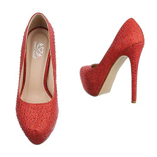 Ital-Design High Heel Damenschuhe Plateau Pfennig-/Stilettoabsatz High Heels Pumps Rot EK-105
