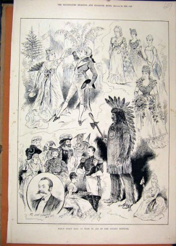 Old Original Antique Victorian Print 1890 Fancy Dress Ball York County Hospital Costume (Victorian Costumes 1890)