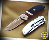 FOLDING SHARP KNIFE BLACK PAKKAWOOD HANDLERAZOR SHARP BLADE WITH CLIP - Premium Quality Hunting Very Sharp EMT EDC
