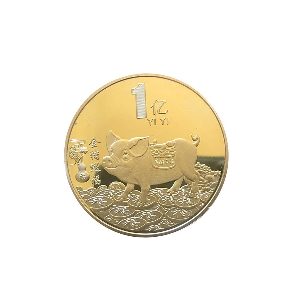 Connoworld 2019 Pig Year Fu Blessings Commemorative Coin Holiday Souvenir Collection Gift - Golden